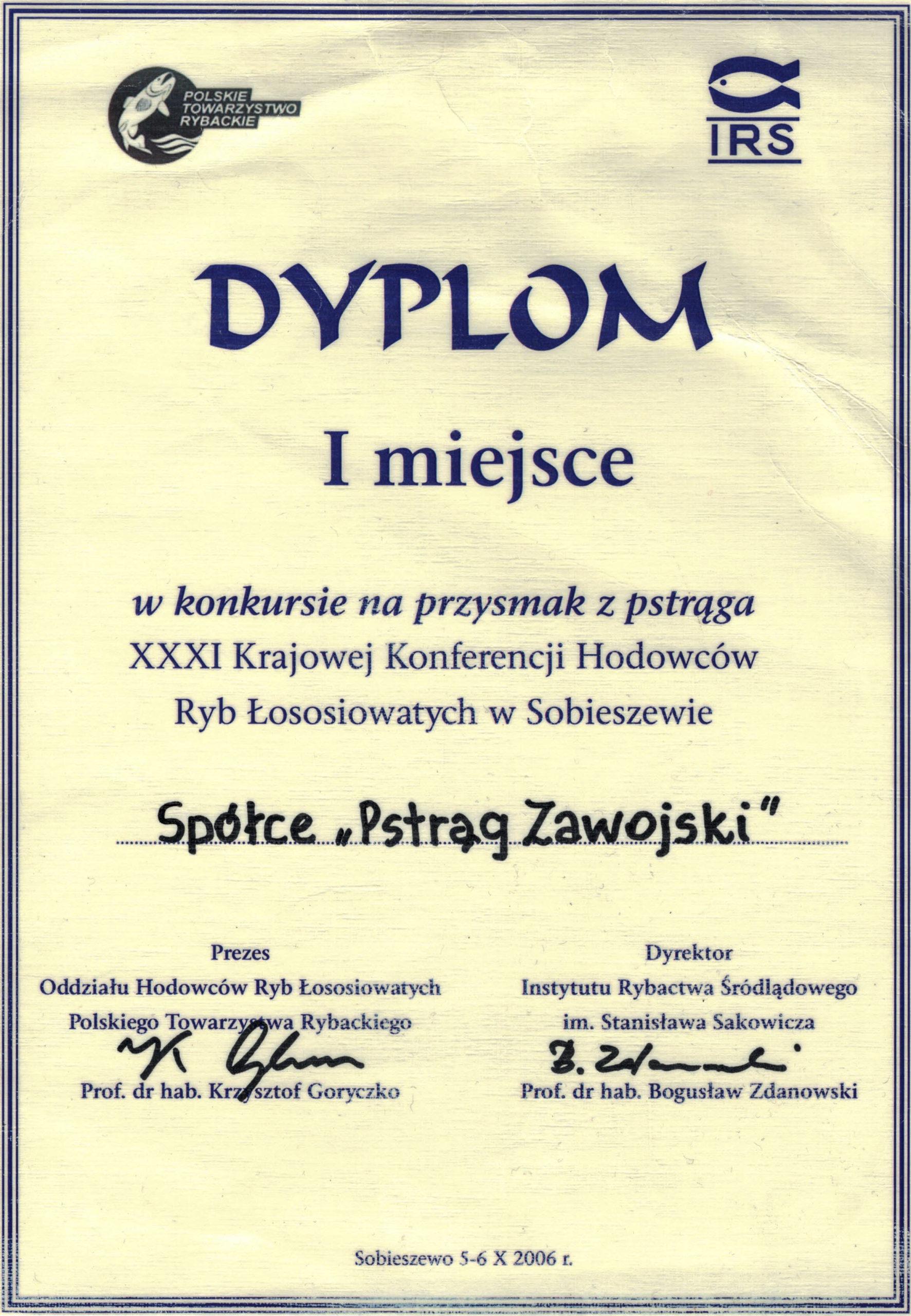 Dyplom 1 miejsce w konkursie na przysmak z pstrąga